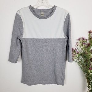 Asos | White and gray quarter sleeve top